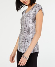 I.N.C. Printed Chain-Front Top, Created for Macy's