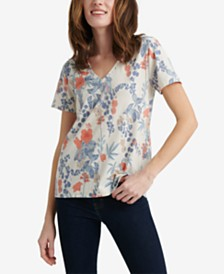 Lucky Brand Cotton Floral Print V-Neck T-Shirt