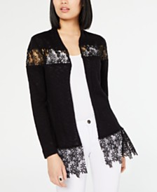 I.N.C. Lace-Trim Cardigan, Created for Macy's