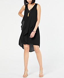 INC High-Low Flutter Necklace Dress, Created for Macy's
