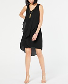 I.N.C. Petite High-Low Flutter Necklace Dress, Created for Macy's