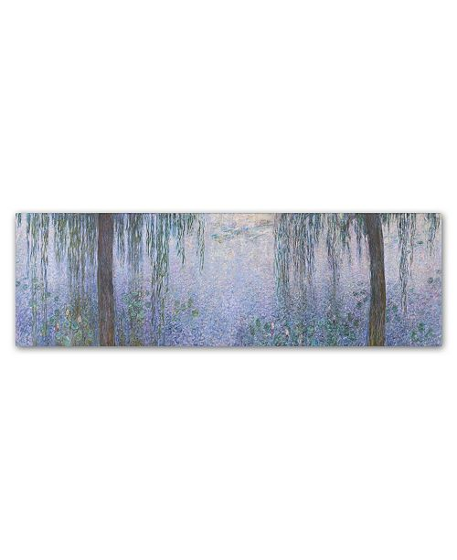 """Trademark Global Monet 'The Water Lillies Clear Morning With Willows' Canvas Art - 19"""" x 6"""" x 2"""""""