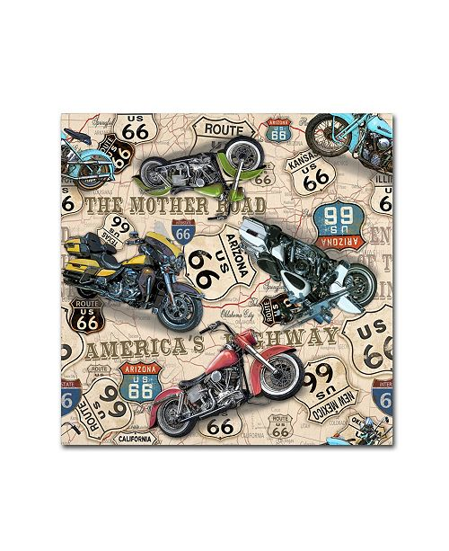 """Trademark Global Jean Plout 'Vintage Motorcycles On Route 66 9' Canvas Art - 14"""" x 14"""" x 2"""""""