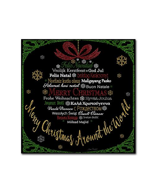 "Trademark Global Jean Plout 'Merry Christmas Glitter' Canvas Art - 35"" x 35"" x 2"""