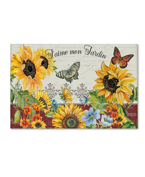 "Trademark Global Jean Plout 'Jaime Mon Jardin' Canvas Art - 19"" x 12"" x 2"""