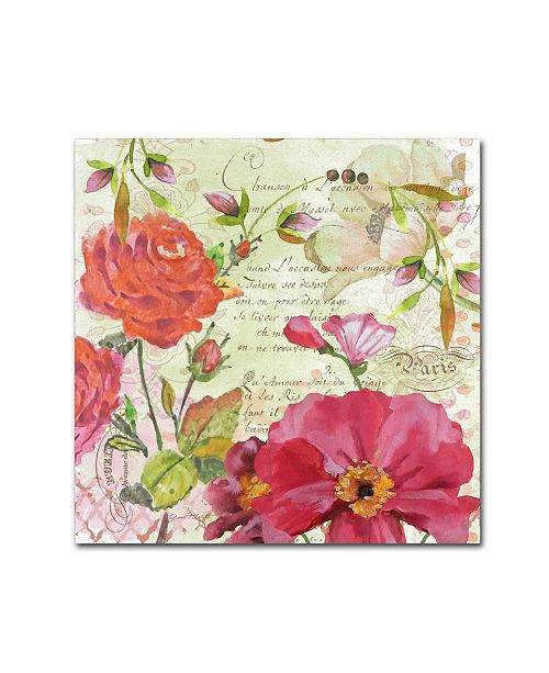 """Trademark Global Jean Plout 'Floral Love Song 1' Canvas Art - 18"""" x 18"""" x 2"""""""