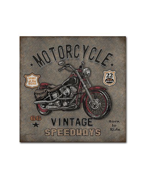 """Trademark Global Jean Plout 'Motorcycle Speedway 1' Canvas Art - 18"""" x 18"""" x 2"""""""