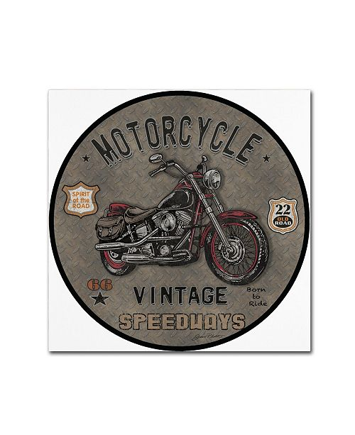 """Trademark Global Jean Plout 'Motorcycle Speedway 3' Canvas Art - 35"""" x 35"""" x 2"""""""
