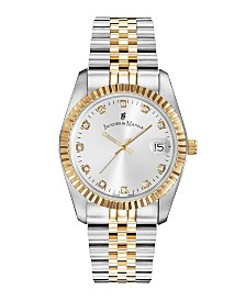 Jacques Du Manoir Ladies' Two Tone Silver or Gold Yellow Stainless Steel Bracelet with Twotone Case and Mother of Pearl Dial and Diamond Markers, 36mm