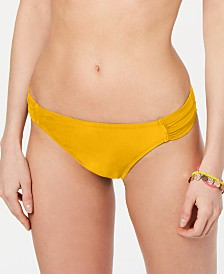 California Waves Juniors' Shirred Hipster Bikini Bottoms, Created for Macy's
