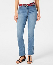 Belted Tummy-Control Cuffed Jeans, Created for Macy's