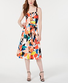 Donna Ricco Printed Button-Down A-Line Dress