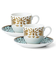 Global Tapestry Aquamarine Gold Set/2 Espresso Cup & Saucer