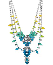 "Silver-Tone Crystal & Stone Flower 19"" Statement Necklace"