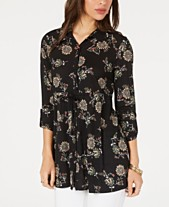 8763258da Style & Co Floral-Print Drawstring Top, Created for Macy's