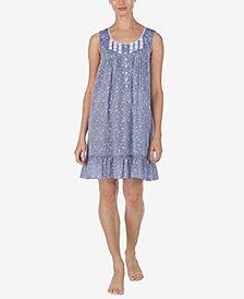 Eileen West Cotton Floral-Print Venise Lace Chemise Nightgown