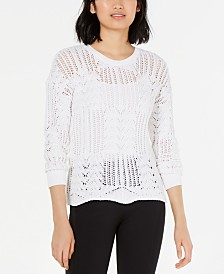 Bar III Pointelle-Knit Sweater, Created for Macy's