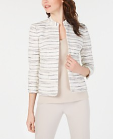 Anne Klein Collarless Printed Jacket