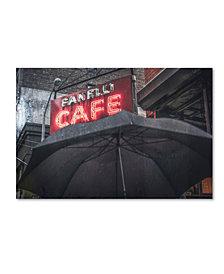 """Moises Levy 'Umbrella Cafe' Canvas Art - 32"""" x 22"""" x 2"""""""