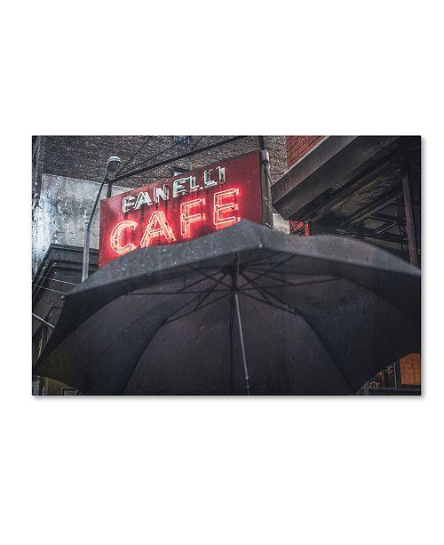 """Trademark Global Moises Levy 'Umbrella Cafe' Canvas Art - 32"""" x 22"""" x 2"""""""