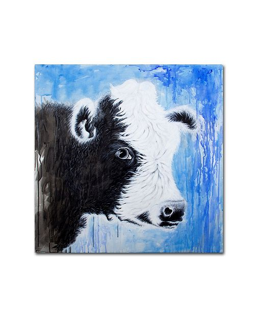 "Trademark Global Michelle Faber 'Black And White Cow' Canvas Art - 35"" x 35"" x 2"""