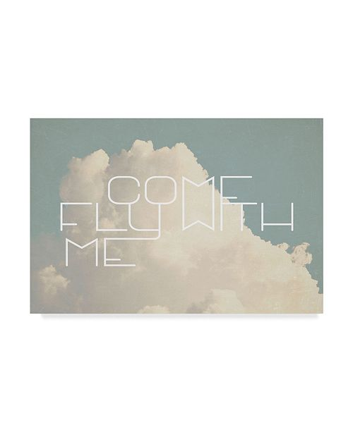 """Trademark Global Vintage Skies 'Come Fly With Me' Canvas Art - 19"""" x 12"""" x 2"""""""