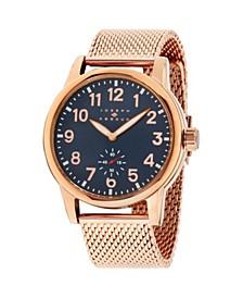 Men's Analog Rose Gold Stainless Steel Bracelet Watch 28mm