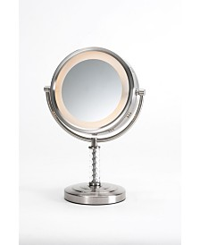 "The Jerdon HL856MNC 8"" Tabletop Two-Sided Swivel Halo Lighted Vanity Mirror"