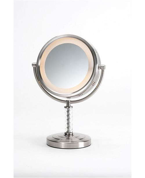 "Jerdon The HL856MNC 8"" Tabletop Two-Sided Swivel Halo Lighted Vanity Mirror"