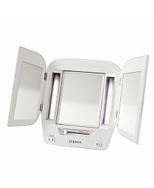 The Jerdon JgL10W Tabletop Tri-Fold Two-Sided Lighted Makeup Mirror