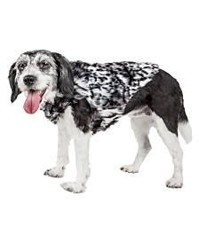 Pet Life Luxe 'Paw Dropping' Gray Scale Tiger Pattern Faux Fur Dog Coat Jacket