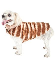Pet Life Luxe 'Tira-Poochoo' Tiramisu Patterned Faux Fur Dog Coat Jacket