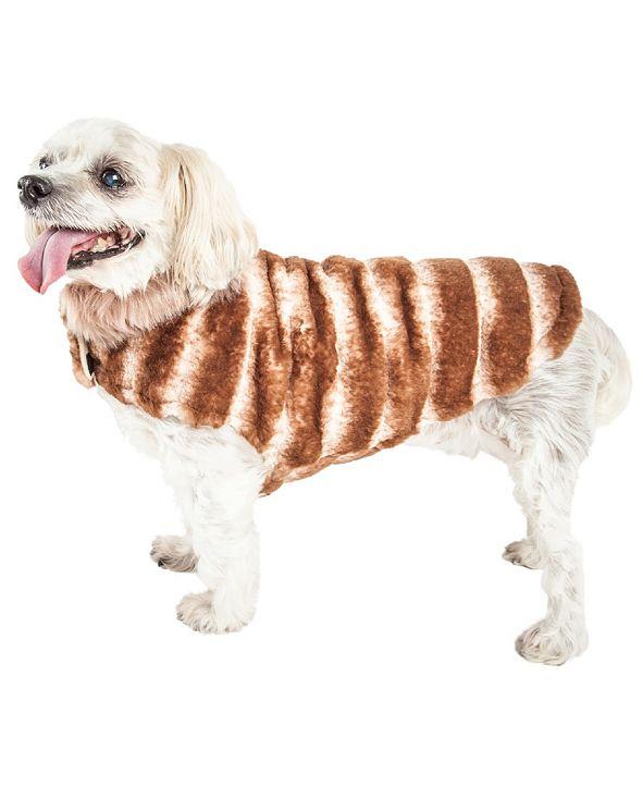 Pet Life Central Pet Life Luxe 'Tira-Poochoo' Tiramisu Patterned Faux Fur Dog Coat Jacket