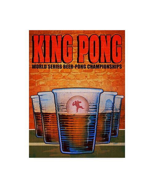 """Trademark Innovations Old Red Truck 'King Pong' Canvas Art - 24"""" x 18"""" x 2"""""""