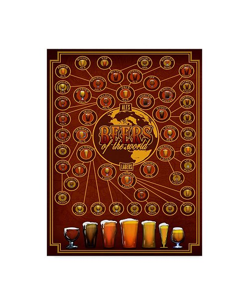 """Trademark Innovations Old Red Truck 'Beers Of The World' Canvas Art - 24"""" x 18"""" x 2"""""""