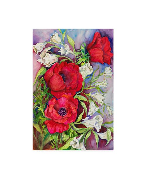 "Trademark Global Joanne Porter 'Anemones And Prairie Gentian' Canvas Art - 24"" x 16"" x 2"""