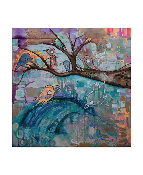 "Trademark Global Zwart 'Birds Branch By Wave' Canvas Art - 24"" x 24"" x 2"""