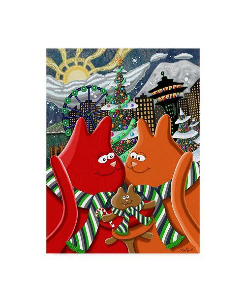 "Trademark Global Jake Hose 'A Seattle Cats Christmas' Canvas Art - 24"" x 18"" x 2"""