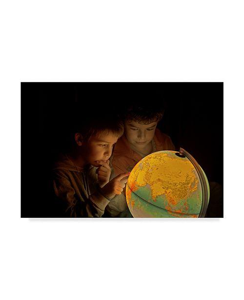 "Trademark Global Javier Senosiain 'Haciendo Planes' Canvas Art - 24"" x 2"" x 16"""