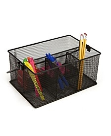 Storage Basket Organizer, Utensil Holder, Forks, Spoons, Knives, Napkins, Perfect for Desk Supplies, Pencil, Pens, Staples Metal Mesh