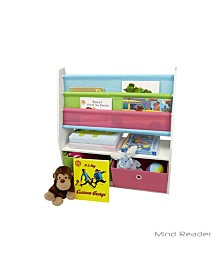 Mind Reader Toy Storage Organizer Kids Book Organizer with Folding Drawers for Toddler Toys