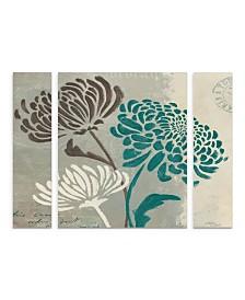 "Wellington Studio 'Chrysanthemums Ii' Multi Panel Art Set Small 3 Piece - 44"" x 44"" x 2"""