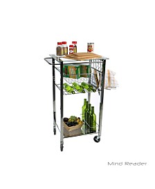 Mind Reader Glass Top Mobile Kitchen Cart with Wine Bottle Holder, Wine Rack, Towel Holder, Perfect Kitchen Island for Cooking Utensils, Kitchen Appliances, and Food Storage