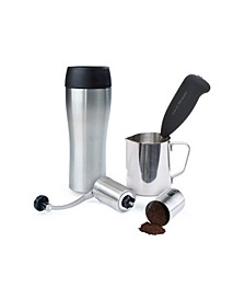 Coffee Lovers 4 Piece Set Travel Mug, Frother, Pitcher, Grinder for Lattes, Cappuccinos, Hot Chocolate, Frappe, Stainless Steel