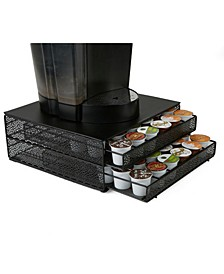 72 Capacity Double K-Cup Storage Tray with Flower Pattern Metal Mesh