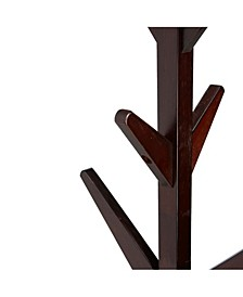 8 Hook Solid Free Standing Wood Coat Rack, Entryway Coat Tree Hat Hanger Umbrella Holder