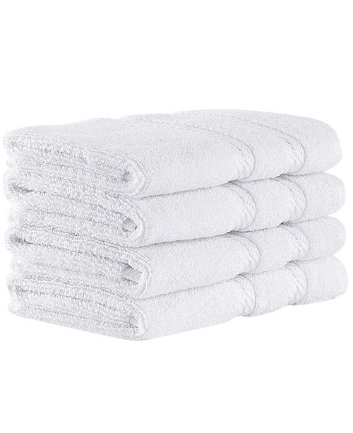 Makroteks Classic Turkish Towels Antalya 4 Piece Luxury Turkish Cotton Washcloth Towel Set