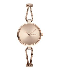 Gramercy Round Flat Stainless Steel Rose Gold Mesh Watch