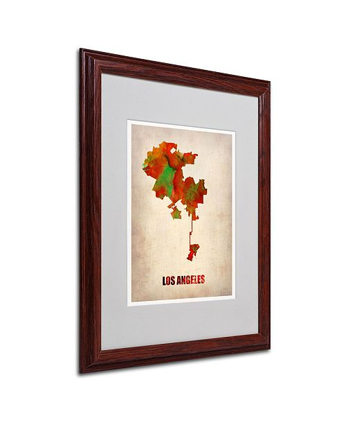 """Trademark Global Naxart 'Los Angeles Watercolor Map' Matted Framed Art - 16"""" x 20"""" x 0.5"""""""