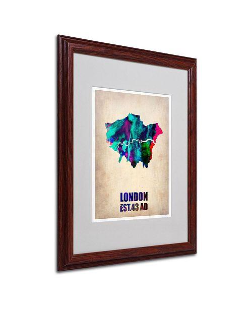 "Trademark Global Naxart 'London Watercolor Map 2' Matted Framed Art - 16"" x 20"" x 0.5"""